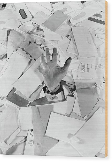 1950s Male Hand Sticking Out Of Pile Wood Print