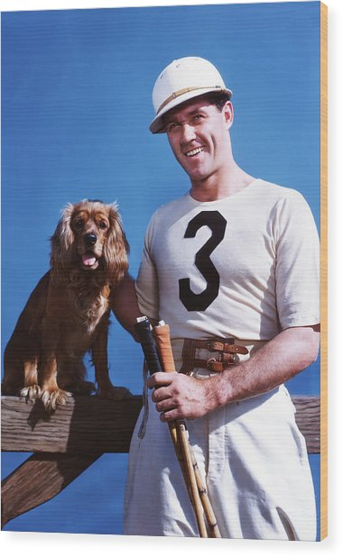 1950s Smiling Man Polo Player Posing Wood Print
