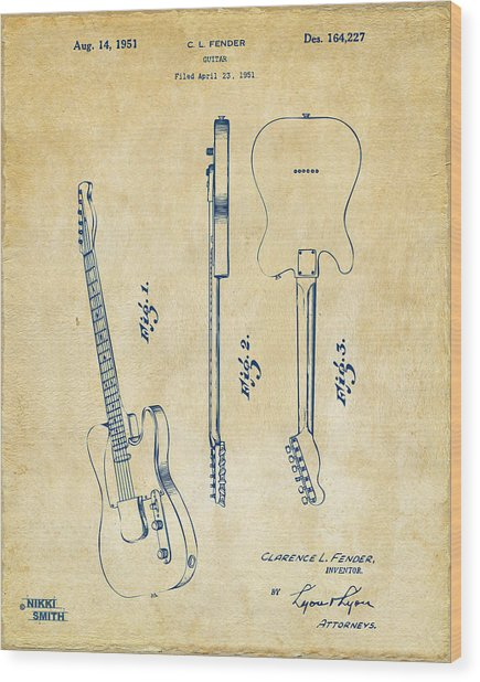 1951 Fender Electric Guitar Patent Artwork - Vintage Wood Print