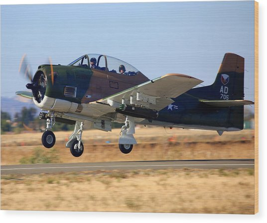 1951 T-28a Trojan Take-off N51705 Wood Print