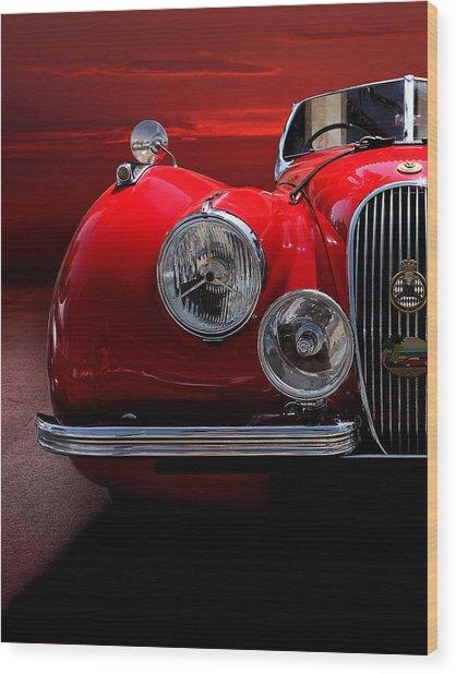 1952 Jaguar Xk120 Sport Car Red Wood Print by Radoslav Nedelchev