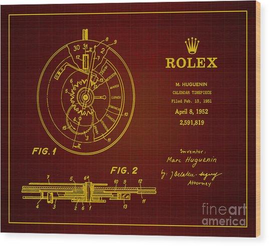 1952 Rolex Calendar Timepiece 3 Wood Print by Nishanth Gopinathan
