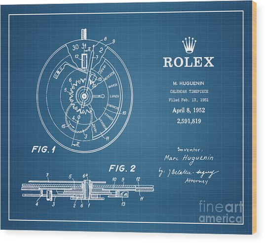 1952 Rolex Calendar Timepiece 4 Wood Print by Nishanth Gopinathan