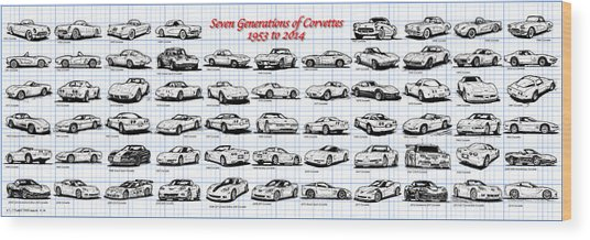 1953-2014-corvettes Wood Print