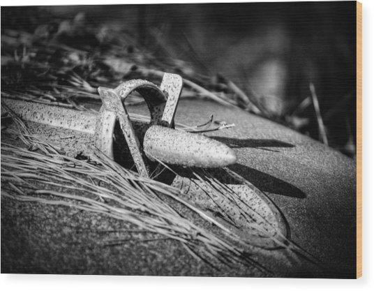 1953 Buick Skylark Hood Ornament In Black And White Wood Print
