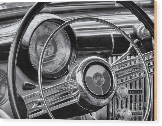 1953 Buick Super Dashboard And Steering Wheel Bw Wood Print