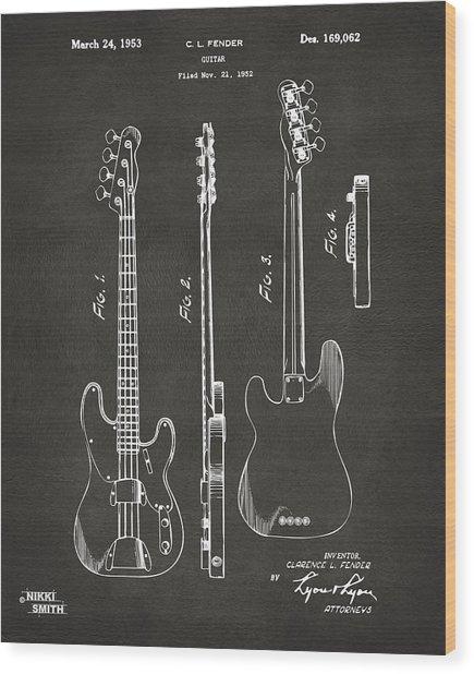 Wood Print featuring the digital art 1953 Fender Bass Guitar Patent Artwork - Gray by Nikki Marie Smith