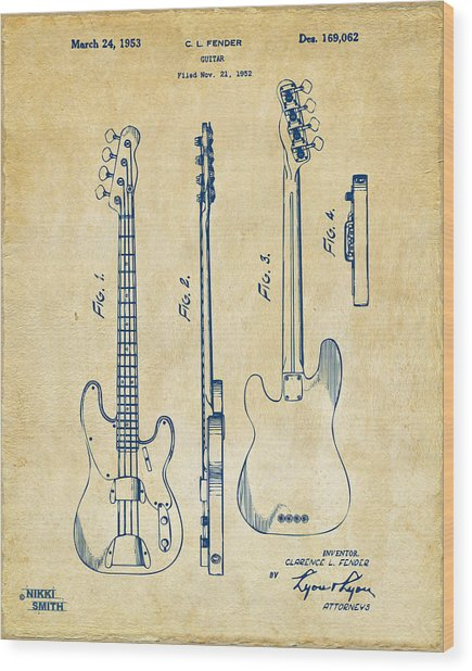 Wood Print featuring the digital art 1953 Fender Bass Guitar Patent Artwork - Vintage by Nikki Marie Smith