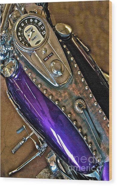 1953 Purple Harley Panhead Wood Print