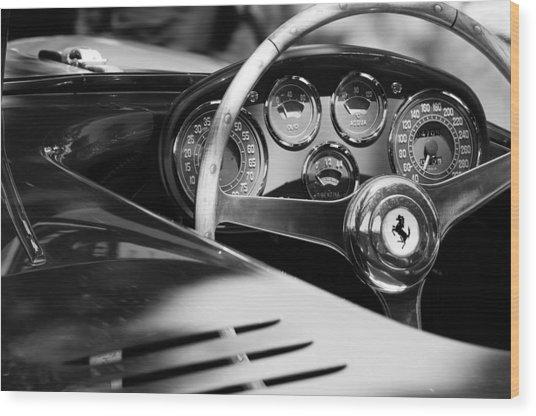 1954 Ferrari 500 Mondial Spyder Steering Wheel Emblem Wood Print