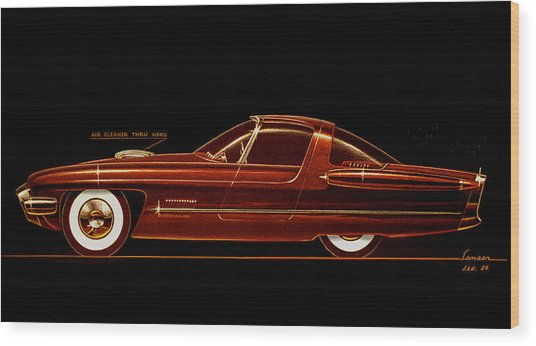 1954 Ford Cougar  Experimental  Car Concept Styling Design Concept Sketch Wood Print by John Samsen