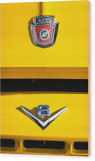 1954 Ford F-100 Custom Pickup Truck Emblems Wood Print
