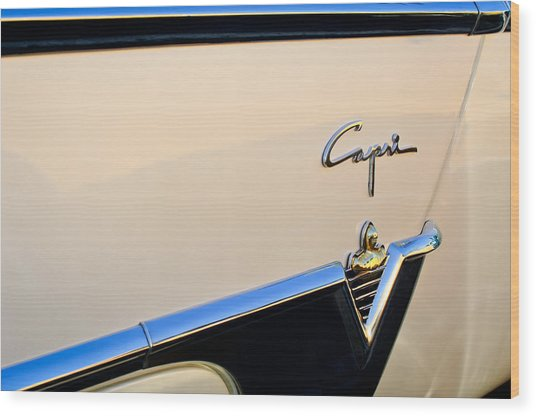1954 Lincoln Capri Convertible Emblem 2 Wood Print