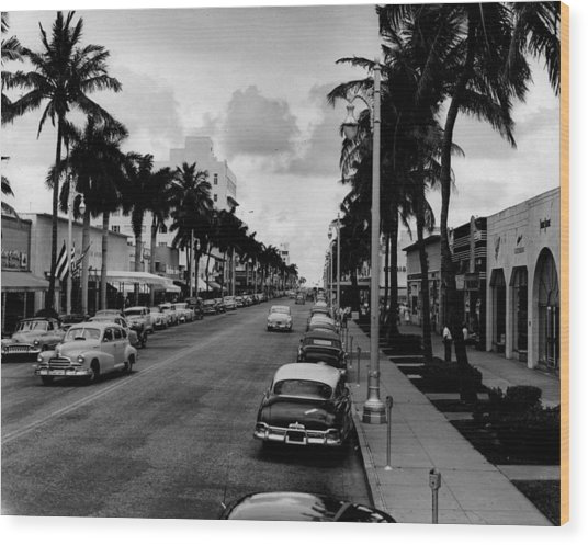 1954 Miami Beach Lincoln Road Wood Print by Retro Images Archive