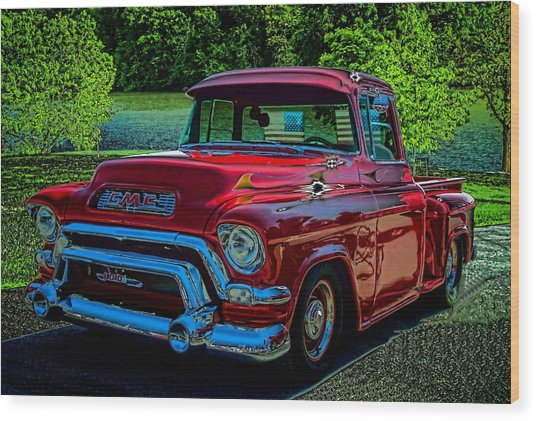 1955 Gmc 100 Pickup Truck Wood Print