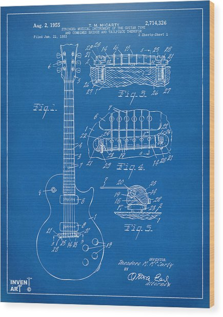 Wood Print featuring the digital art 1955 Mccarty Gibson Les Paul Guitar Patent Artwork Blueprint by Nikki Marie Smith