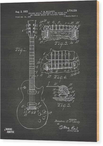 Wood Print featuring the digital art 1955 Mccarty Gibson Les Paul Guitar Patent Artwork - Gray by Nikki Marie Smith