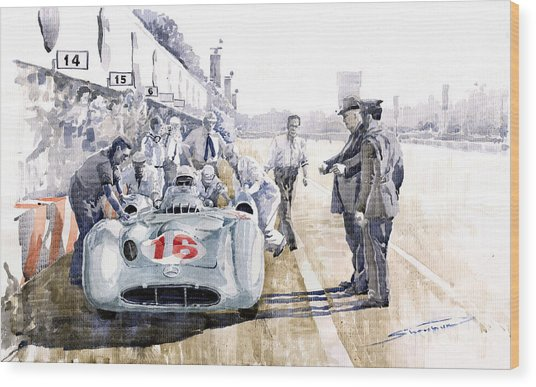1955 Mercedes Benz W 196 Str Stirling Moss Italian Gp Monza Wood Print