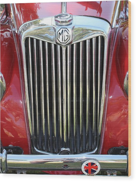 1955 Red Mg Grille Wood Print by Mark Steven Burhart