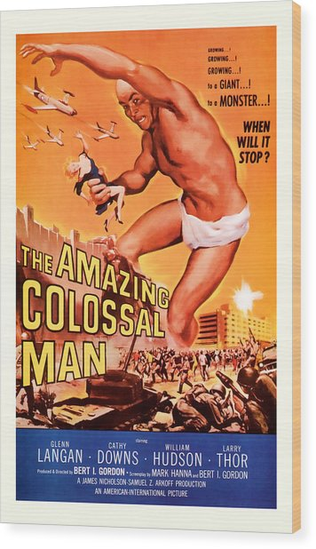 1955 The Amazing Colossal Man Vintage Movie Art Wood Print
