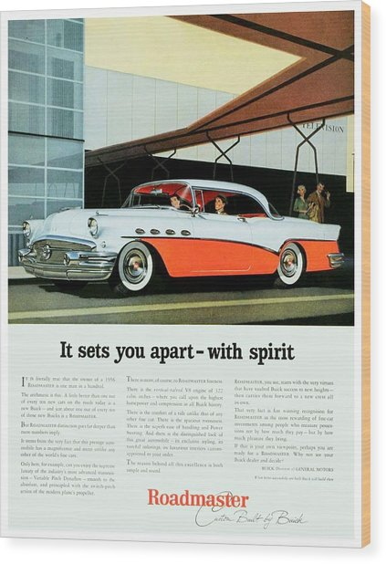 1956 - Buick Roadmaster Convertible - Advertisement - Color Wood Print