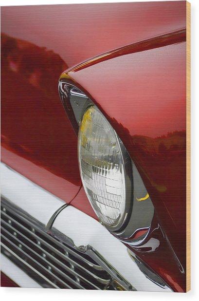 1956 Chevrolet Headlamp Wood Print