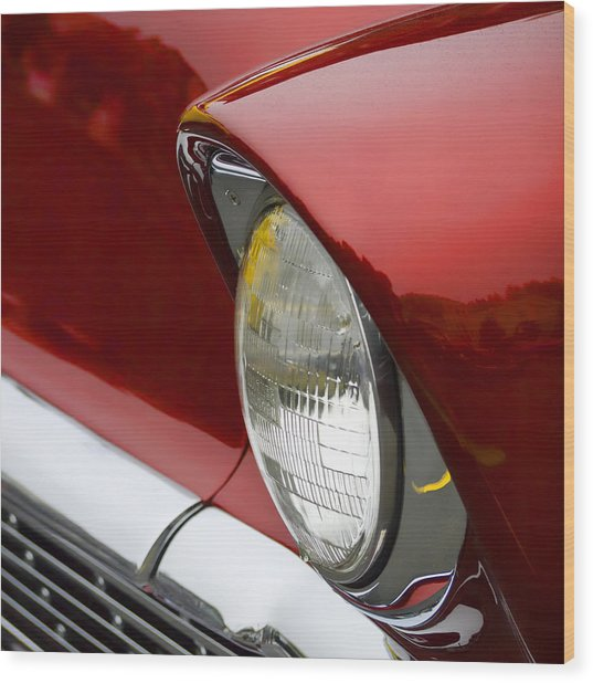 1956 Chevrolet Headlamp Square Wood Print