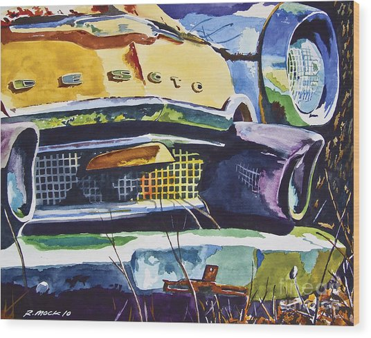 1956 Desoto Abstract Wood Print by Rick Mock