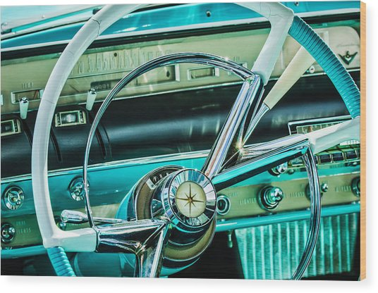 1956 Lincoln Premiere Steering Wheel -0838c Wood Print