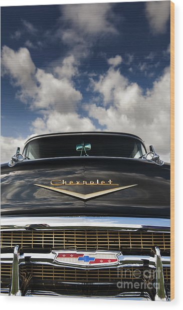 1957 Black Chevrolet Bel Air  Wood Print