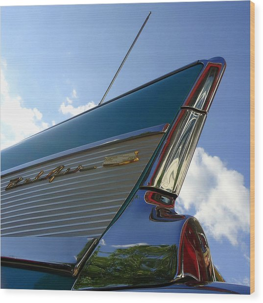 1957 Chevrolet Bel Air Fin Wood Print