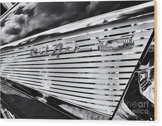 1957 Chevrolet Bel Air Monochrome Wood Print