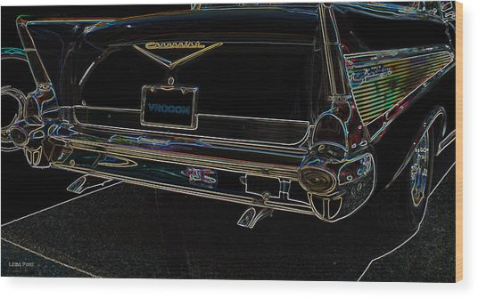 1957 Chevrolet Rear View Art Black_varooom Tag Wood Print