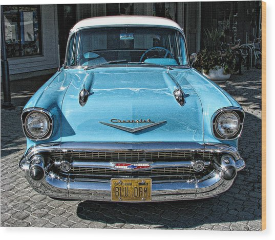 1957 Chevy Bel Air In Turquoise Wood Print