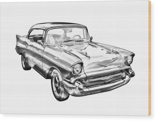 1957 Chevy Bel Air Illustration Wood Print