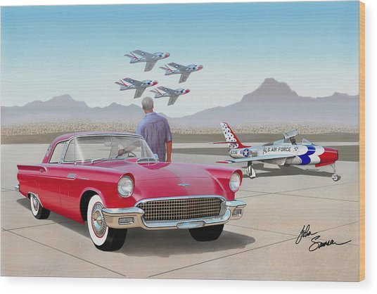 1957 Thunderbird  With F-84 Thunderbirds  Red  Classic Ford Vintage Art Sketch Rendering         Wood Print