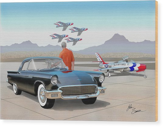 1957 Thunderbird  With F-84 Thunderbirds Vintage Ford Classic Car Art Sketch Rendering          Wood Print