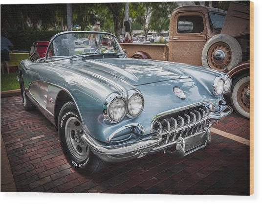 1958 Chevy Corvette Painted Wood Print