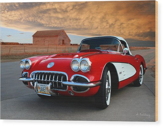 1958 Corvette Wood Print by Andrea Kelley
