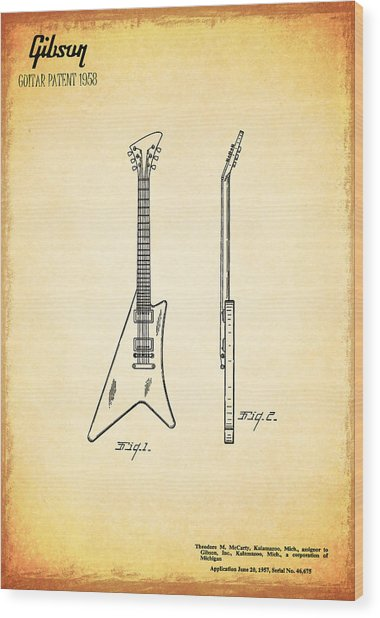 1958 Gibson Guitar Patent Wood Print