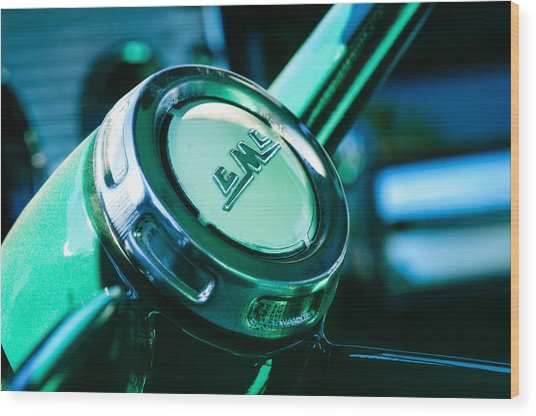 Wood Print featuring the photograph 1958 Gmc Suburban Steering Wheel Emblem by Jill Reger