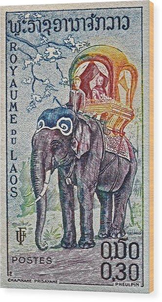 1958 Laos Elephant Stamp Wood Print