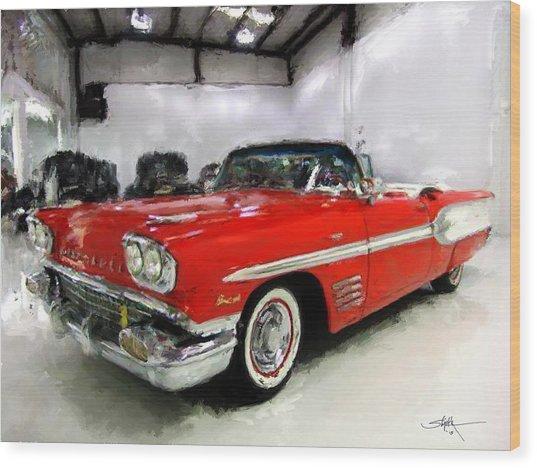 1958 Pontiac Bonneville Convertible Wood Print