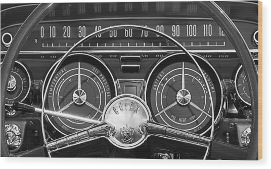 1959 Buick Lasabre Steering Wheel Wood Print