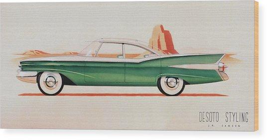 1959 Desoto  Classic Car Concept Design Concept Rendering Sketch Wood Print