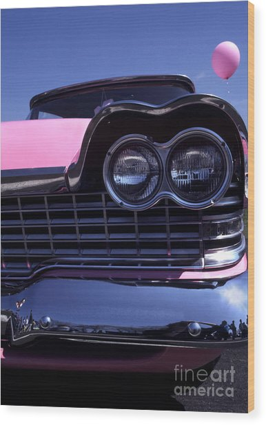 1959 Pink Plymouth Fury With Balloon Wood Print by Anna Lisa Yoder