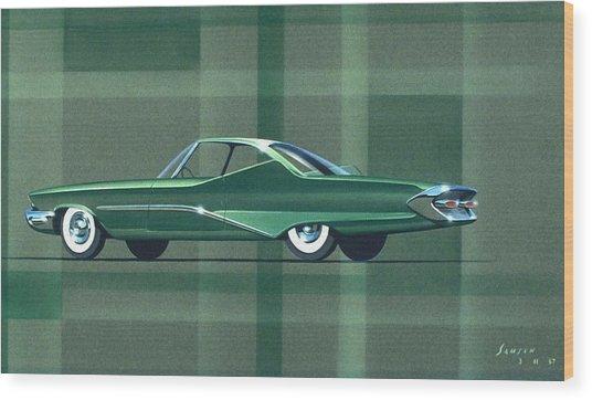 1960 Desoto  Vintage Styling Design Concept Rendering Sketch Wood Print by John Samsen