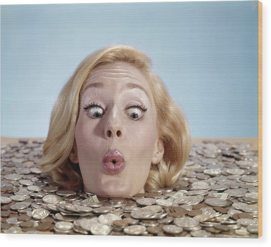 1960s Blond Woman Funny Facial Wood Print