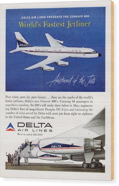 1960s Delta Convair 880 Ad Wood Print