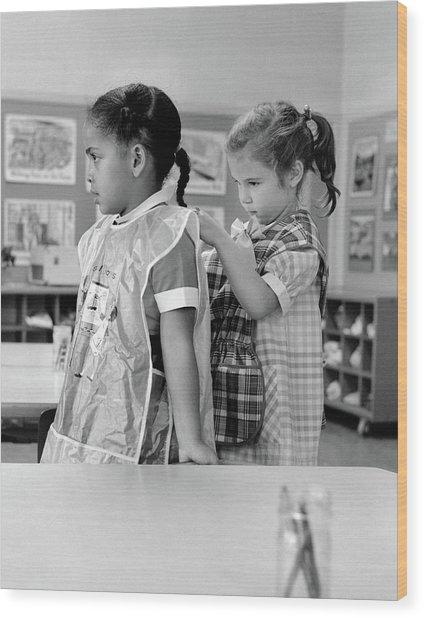 1960s Grade School Girl In Classroom Wood Print